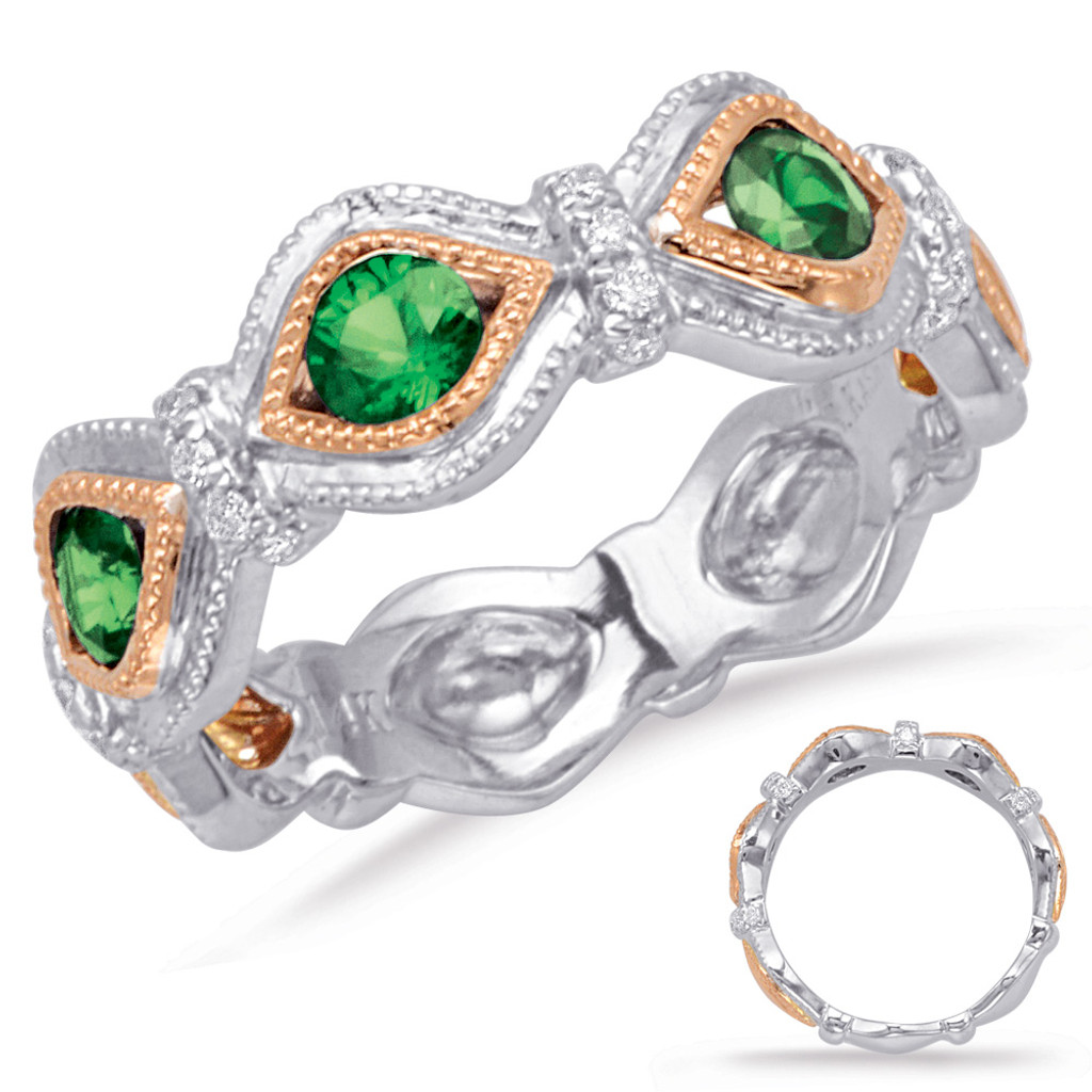 14KT Rose & White Gold Emerald & Diamond Stackable Ring  C5826-ERW