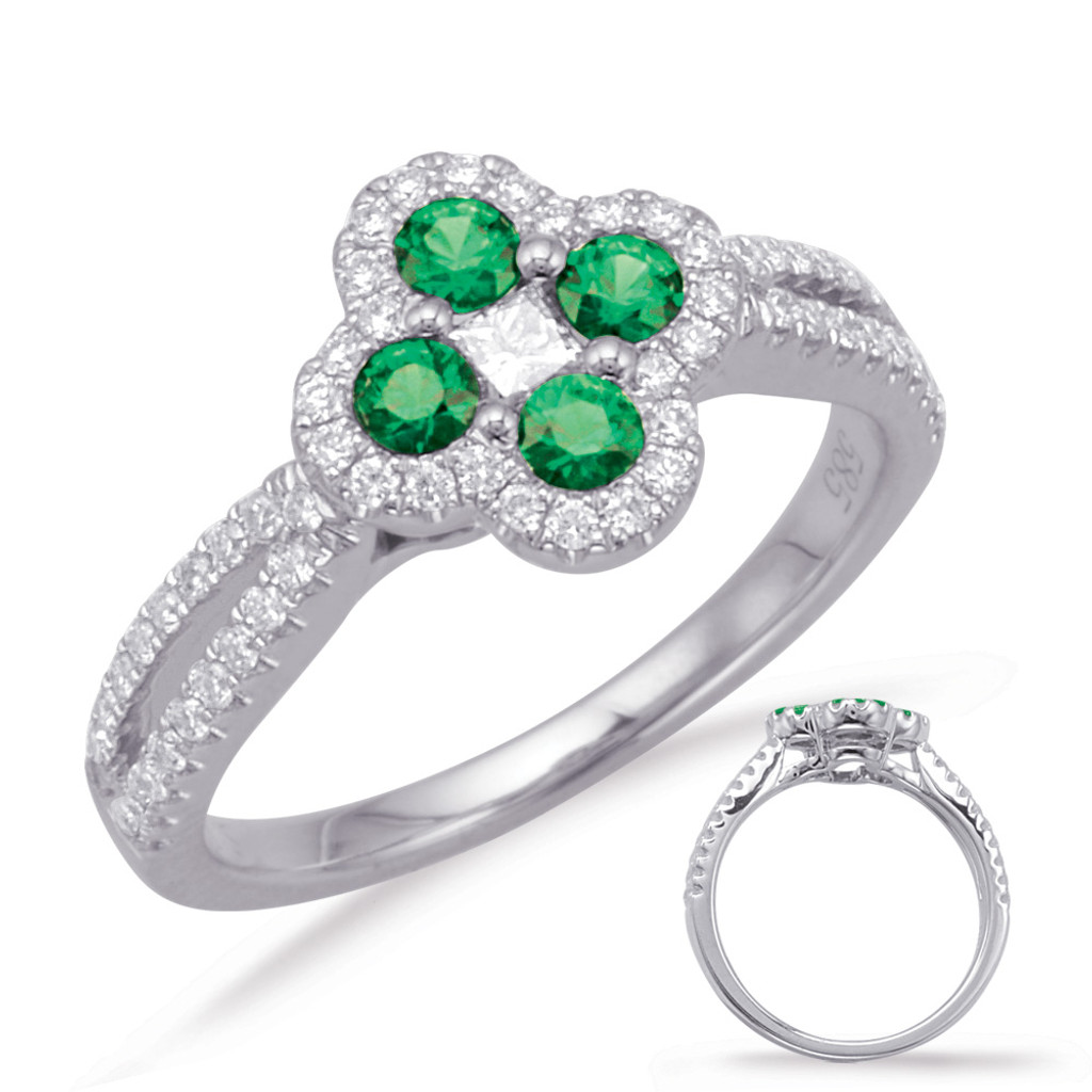 14KT White Gold Emerald & Diamond Stackable Ring  C5817-EWG