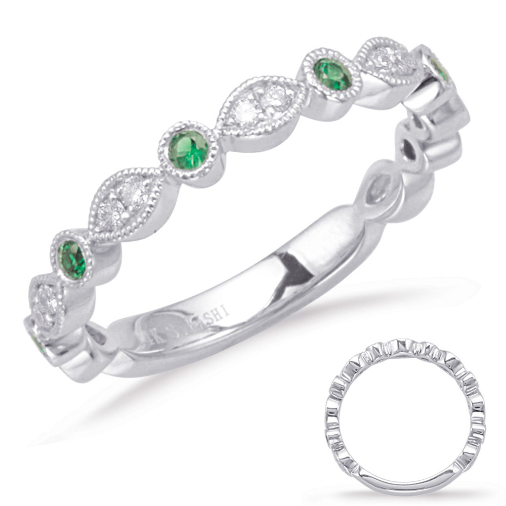 14KT White Gold Emerald & Diamond Stackable Ring  C5827-EWG