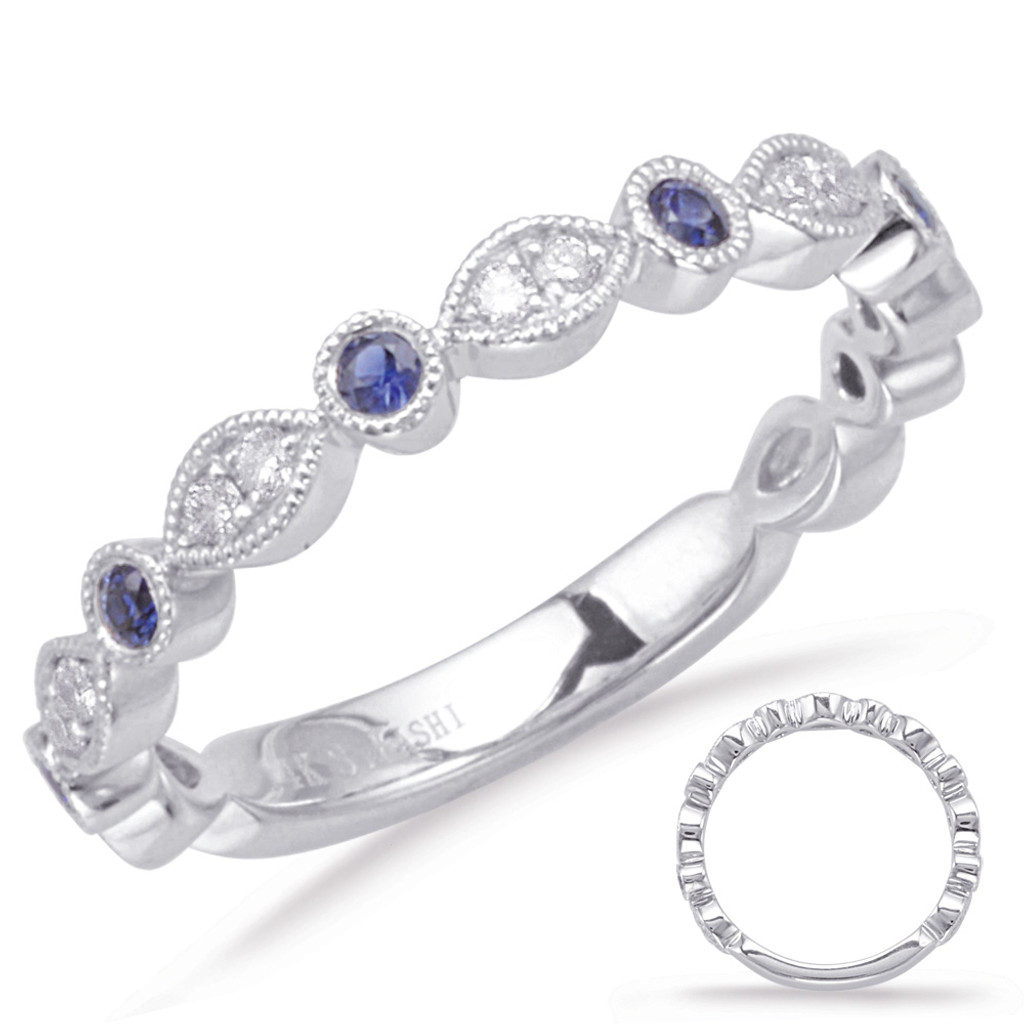 14KT White Gold Sapphire & Diamond Stackable Ring  C5827-SWG