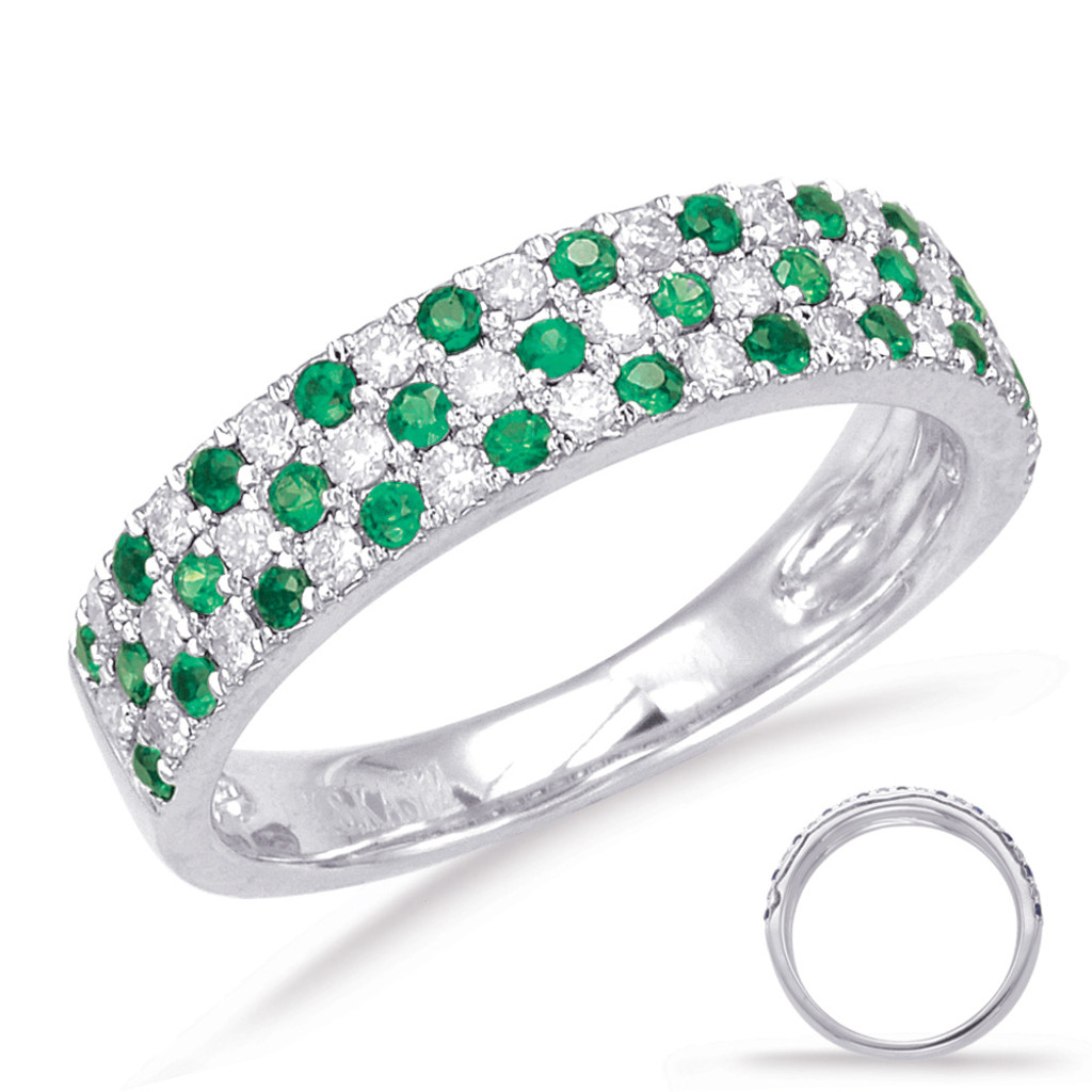 14KT White Gold Green Garnet & Diamond Stackable Ring  C5789-GWG