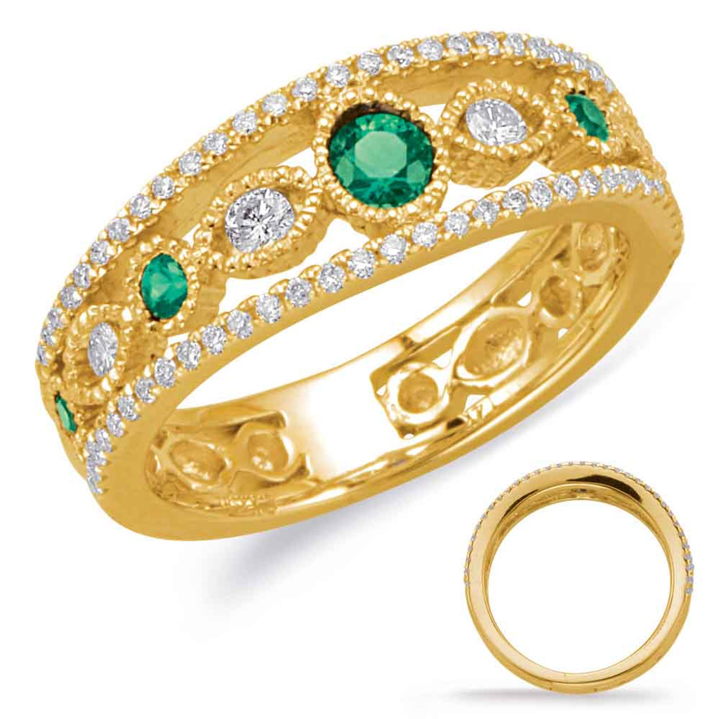 14KT Yellow Gold Emerald & Diamond Stackable Ring  C5822-EYG