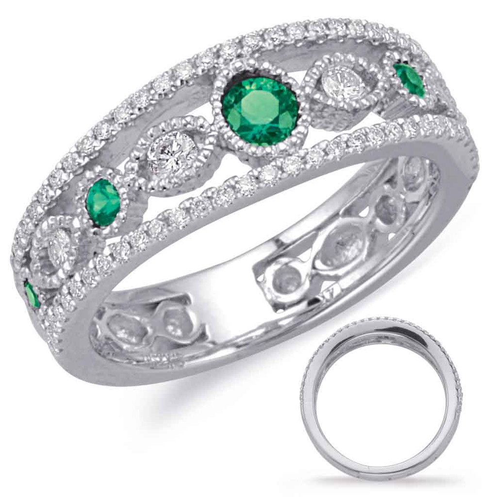 14KT White Gold Emerald & Diamond Stackable Ring  C5822-EWG