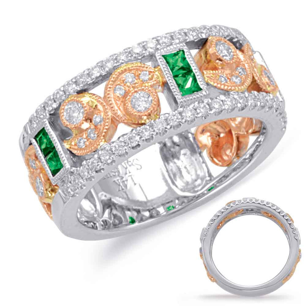 14KT Rose & White Gold Emerald & Diamond Stackable Ring  C5814-ERW