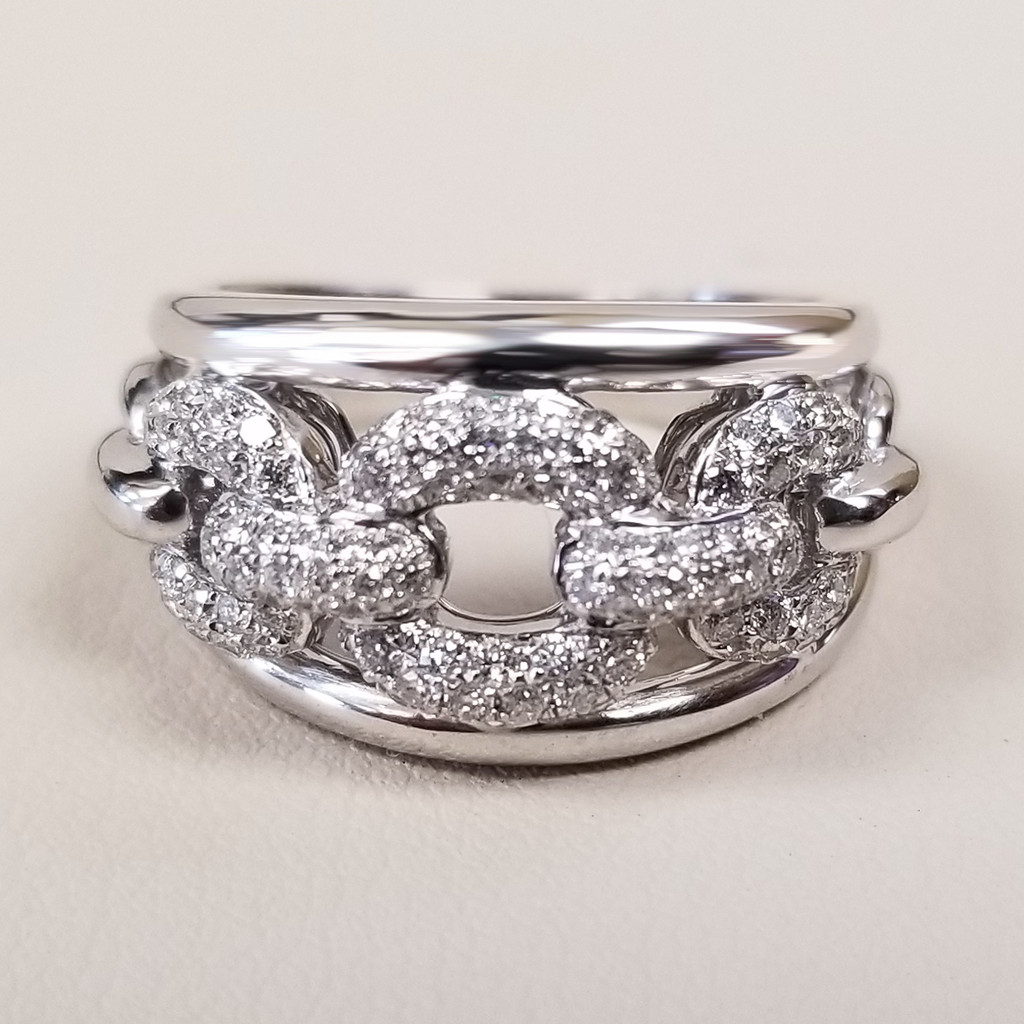 Pave Chain Link Design Ring in 14KT White Gold 1.00 ctw