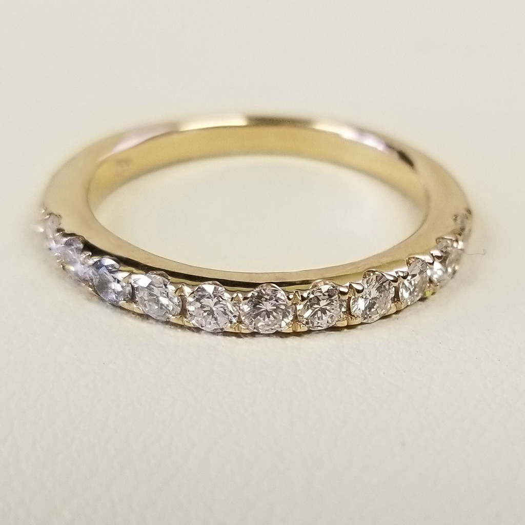 U Prong Set Diamond Ring in 14KT Yellow Gold 0.60 ctw