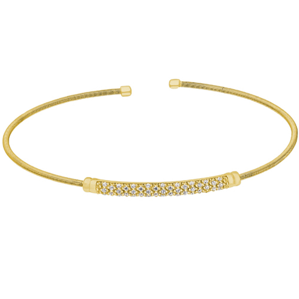 Gold Finish Sterling Silver Cable Cuff Bracelet with Three Rows of Simulated Diamond Birth Gems - April