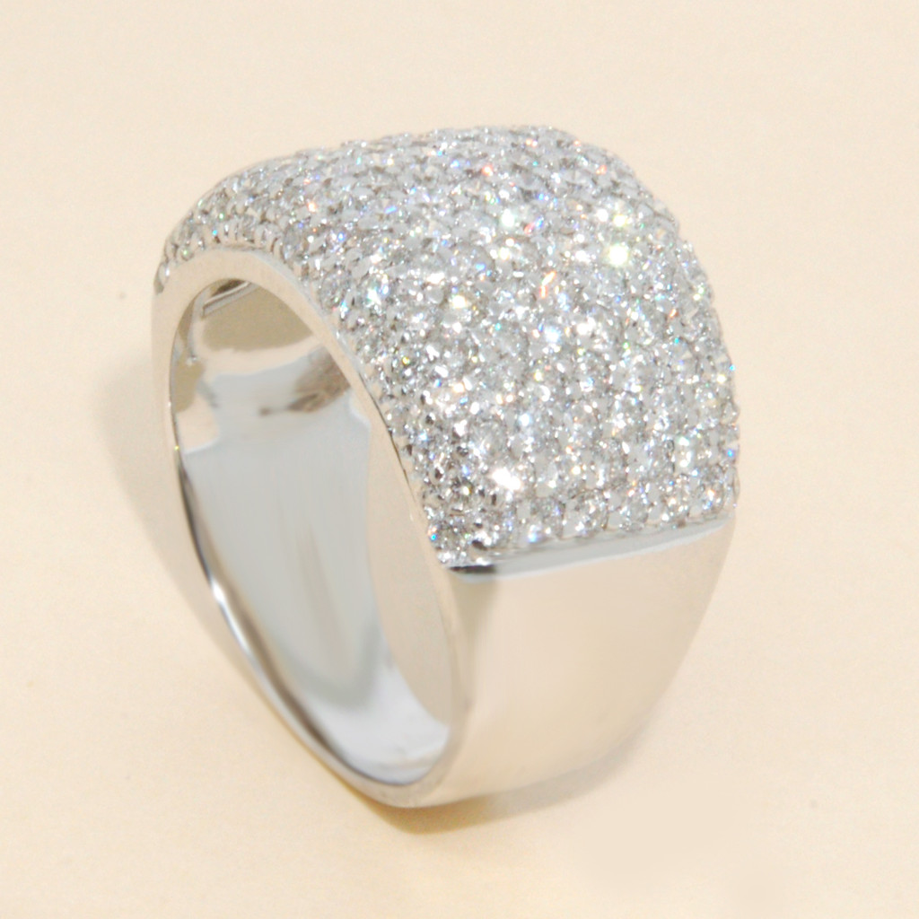 Wide Pave Diamond Band in 18KT White Gold 2.00 CTW