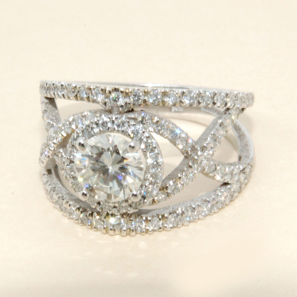 Diamond X Band  with a Round Cut Center in 14KT White Gold 2.00 CTW