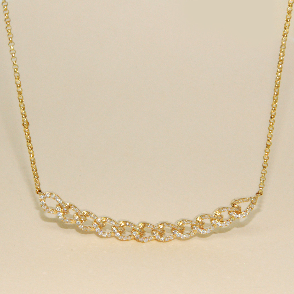 Diamond Links Necklace in 18KT  Yellow Gold 0.50 ctw