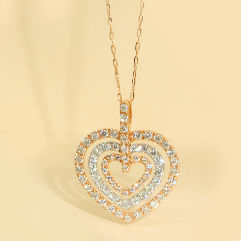 Tri-Colored Diamond Heart Necklace in 18KT Rose, White & Yellow Gold 1.80 ctw