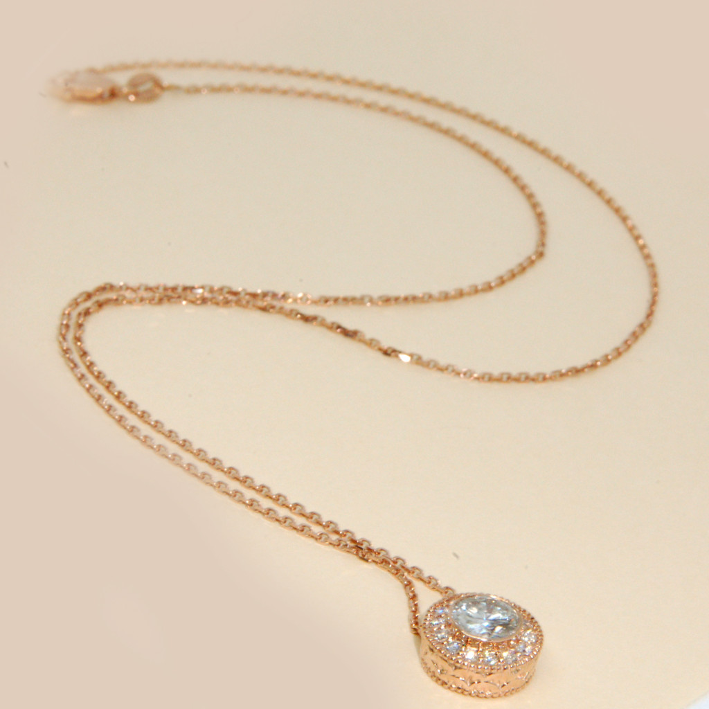 Halo Diamond Necklace in 14KT Rose Gold 0.85 ctw