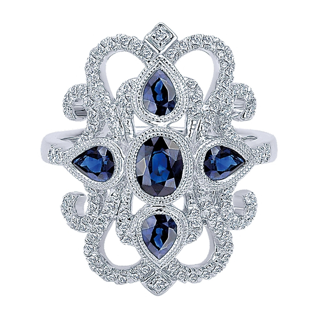 14 KT White Gold Round Cut Diamond & Sapphire Ring in a Milgrain Bezel Antique Design
