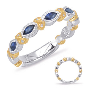 Sapphire & Diamond Stackable Gemstone Ring  in 14K Yellow and White GoldC5810-SYW