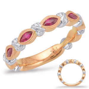 Ruby & Diamond Stackable Gemstone Ring  in 14K Rose and White Gold   C5810-RRW