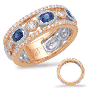 Sapphire & Diamond Stackable Gemstone Ring Stackable Gemstone Ring  in 14K Rose and White GoldC5809-SRW