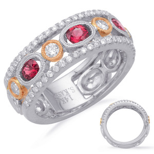 Ruby & Diamond Stackable Gemstone Ring  in 14K Rose and White Gold   C5809-RRW