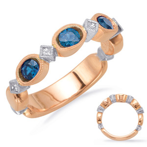 Sapphire & Diamond Stackable Gemstone Ring Stackable Gemstone Ring  in 14K Rose and White Gold   C5807-SRW