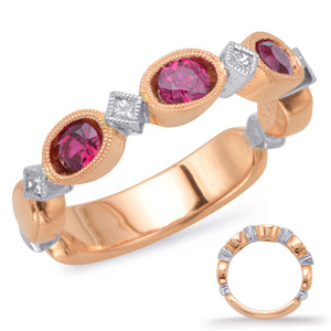Ruby & Diamond Stackable Gemstone Ring  in 14K Rose and White GoldC5807-RRW