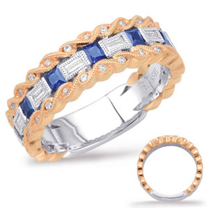 Sapphire & Diamond Stackable Gemstone Ring Rin  in 14K Rose and White Gold   C5806-SRW