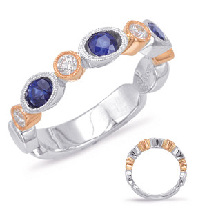 Sapphire & Diamond Stackable Gemstone Ring  in 14K Rose and White Gold   C5808-SRW