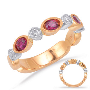 Ruby & Diamond Stackable Gemstone Ring  in 14K Rose and White Gold   C5808-RRW