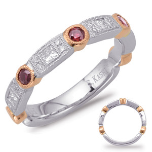 Ruby & Diamond Stackable Gemstone Ring  in 14K Rose and White Gold   C5804-RRW