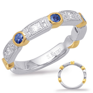 Sapphire & Diamond Stackable Gemstone Ring  in 14K Yellow and White Gold   C5804-SYW
