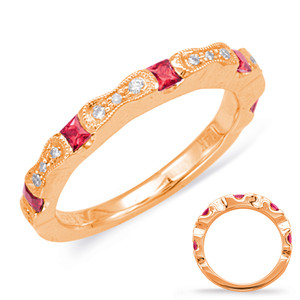 Ruby & Diamond Stackable Gemstone Ring  in 14K Rose Gold   C5803-RRG