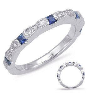 Sapphire & Diamond Stackable Gemstone Ring Stackable Gemstone Ring  in 14K White Gold   C5803-SWG