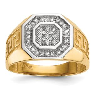 14KT Gold GoldWith  Rhodium Mens Micro Pave CZ Octagon & Greek Key Ring