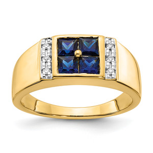 14KT Gold Gold Created Sapphire and Diamond Mens Ring
