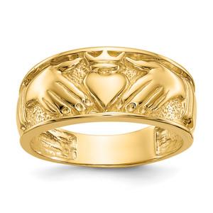14KT Gold Polished Men's Claddagh Band