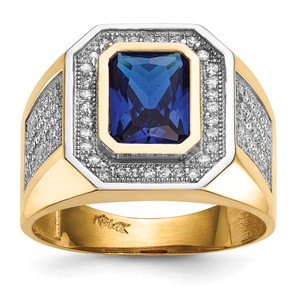 14KT Gold Gold With  Rhodium CZ & Emerald-cut Blue CZ Mens Ring