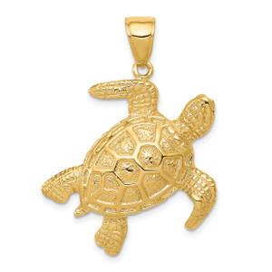 14KT Gold 2-D Sea Turtle Pendant