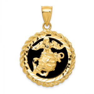 14KT Gold Gold  Onyx Marine Corps Charm