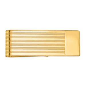 14KT Gold Men's Grooved Polished Money Clip