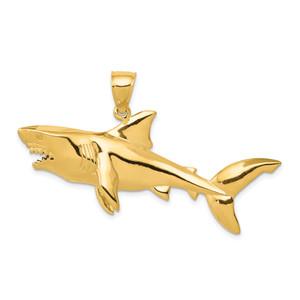 14KT Gold Polished 3-D Shark Pendant