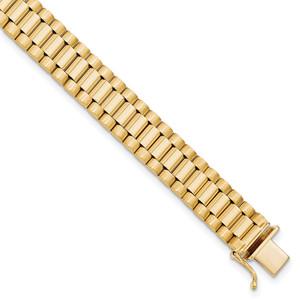 14KT Gold Gold Men's Satin and Polished 8in Link Bracelet