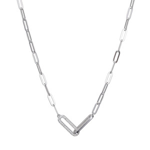 Sterling Silver Necklace made with Paperclip Chain (3mm) and 2 Cubic Zirconia Links (18x6mm) in Center