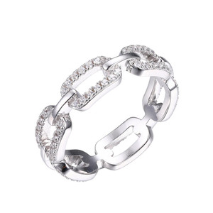 Sterling Silver Ring with Cubic Zirconia Links