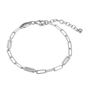"""Sterling Silver Bracelet made with Diamond Cut Paperclip Chain (3mm) and 3 CZ Link (10x3mm) Stations, Measures 6.75"""" Long, Plus 1.25"""" Extender for Adjustable Length, Rhodium Finish"""