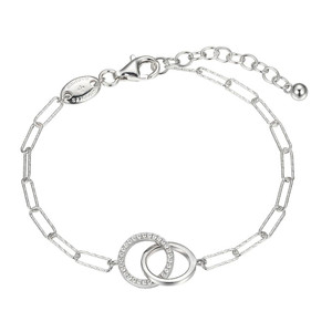 """Sterling Silver Bracelet made with Diamond Cut Paperclip Chain (3mm) and 2 Circles in Center , Measures 6.75"""" Long, Plus 1.25"""" Extender for Adjustable Length, Rhodium Finish"""