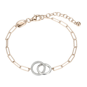 """Sterling Silver Bracelet made with Diamond Cut Paperclip Chain (3mm) and 2 Circles in Center , Measures 6.75"""" Long, Plus 1.25"""" Extender for Adjustable Length, 18K Yellow Gold and Rhodium Finish"""