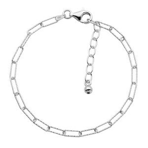 """Sterling Silver Bracelet made with Diamond Cut Paperclip Chain (3mm), Measures 6.75"""" Long, Plus 1.25"""" Extender for Adjustable Length, Rhodium Finish"""