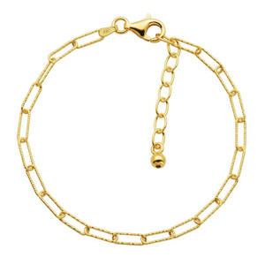 """Sterling Silver Bracelet made with Diamond Cut Paperclip Chain (3mm), Measures 6.75"""" Long, Plus 1.25"""" Extender for Adjustable Length, 18K Yellow Gold Finish"""