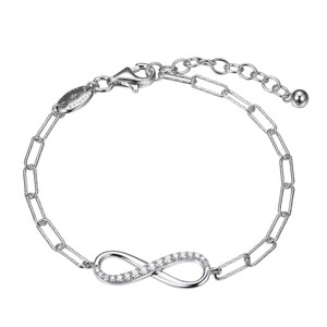 """Sterling Silver Bracelet made with Diamond Cut Paperclip Chain (3mm) and Reversible CZ Infinity (24x8mm) in Center , Measures 6.75"""" Long, Plus 1.25"""" Extender for Adjustable Length, Rhodium Finish"""