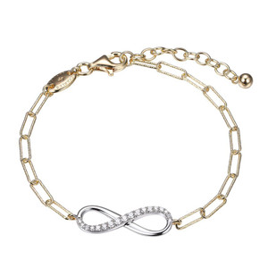 """Sterling Silver Bracelet made with Diamond Cut Paperclip Chain (3mm) and Reversible CZ Infinity (24x8mm) in Center, Measures 6.75"""" Long, Plus 1.25"""" Extender for Adjustable Length, 2 Tone, 18K Yellow Gold and Rhodium Finish"""
