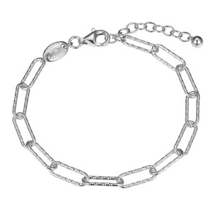 """Sterling Silver Bracelet made with Diamond Cut Paperclip Chain (5mm), Measures 6.75"""" Long, Plus 1.25"""" Extender for Adjustable Length, Rhodium Finish"""