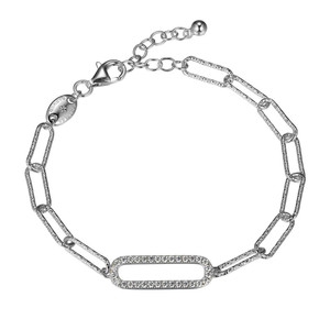 """Sterling Silver Bracelet made with Diamond Cut Paperclip Chain (5mm) and a CZ Link (24x8mm) in Center, Measures 6.75"""" Long, Plus 1.25"""" Extender for Adjustable Length, Rhodium Finish"""